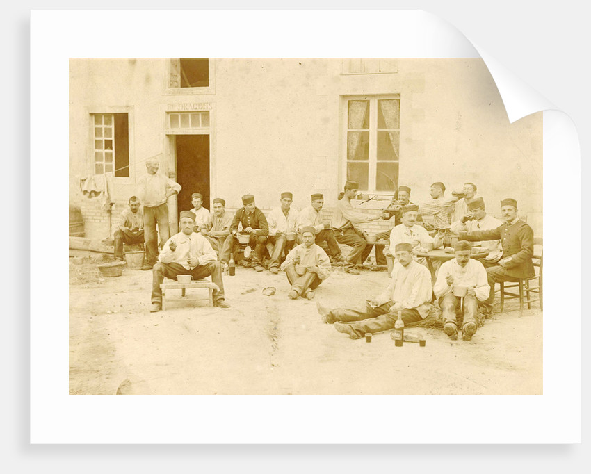 France, group portrait dragoon regiment for office, dining with wine by Anonymous