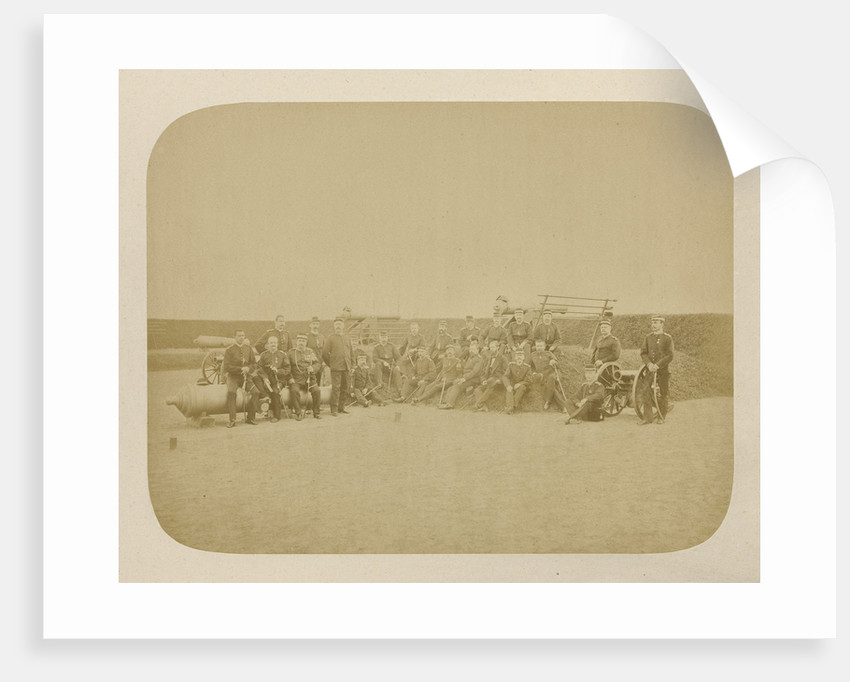 Group portrait of officers of the Dutch army stationed in Ambon, Indonesia by Anonymous