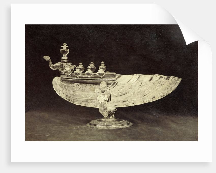 Crystal engraved shell shaped bowl from the Louvre by Charles Thurston Thompson