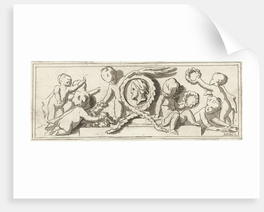 Frieze with putti, Anthonie van den Bos by Jacob de Wit