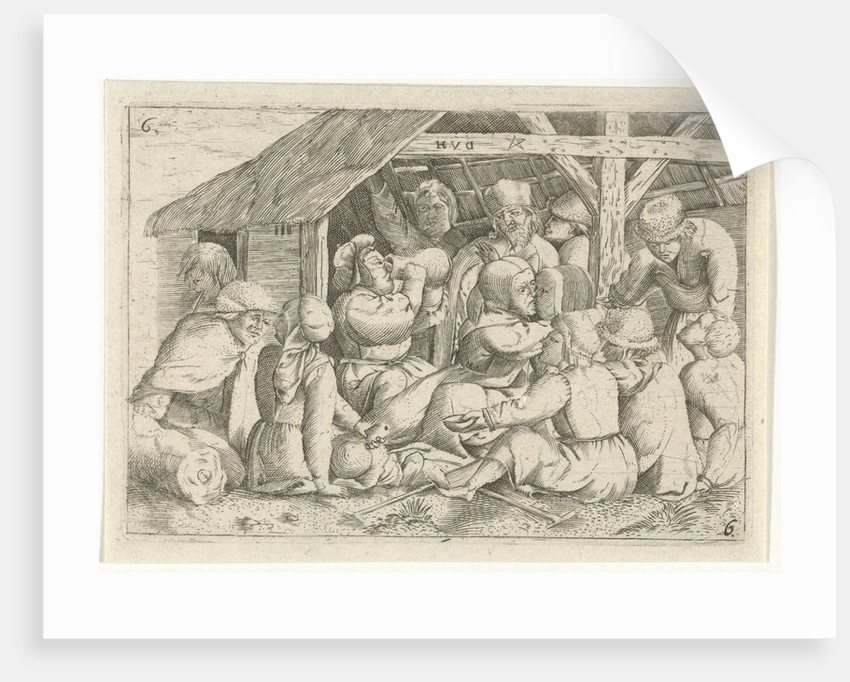 Beggars with a meal in a hut by Cornelis Massijs