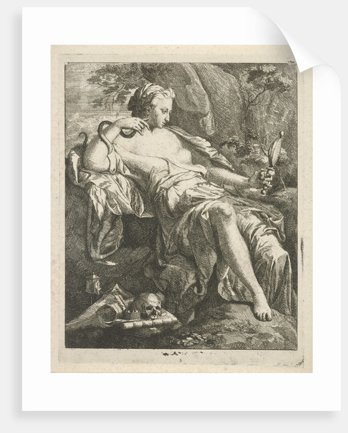 In a landscape beholds Prudentia (Prudence) herself in her hand mirror by Hendrik van Limborch