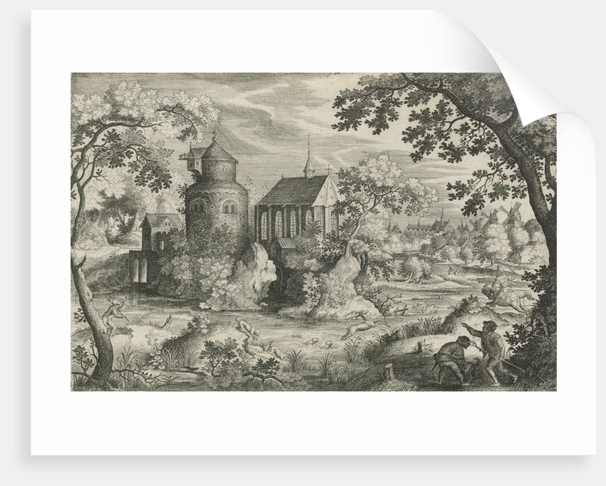 Deer Hunting with a chapel by Jacob Savery I