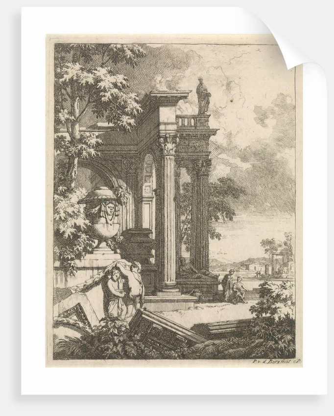 Landscape with classical temple by Pieter van den Berge