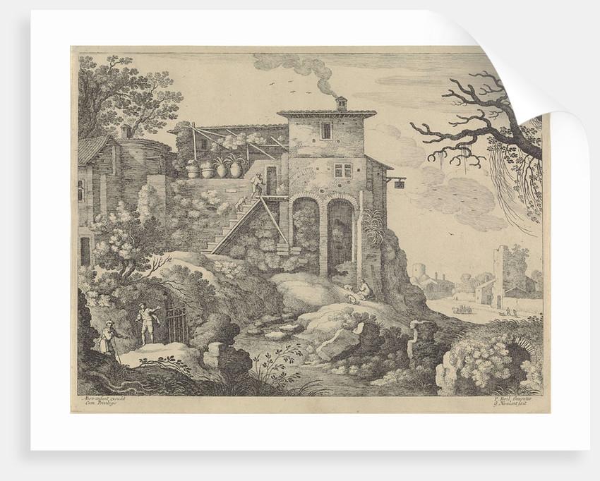 Italian landscape with an inn by Antoine Bonenfant