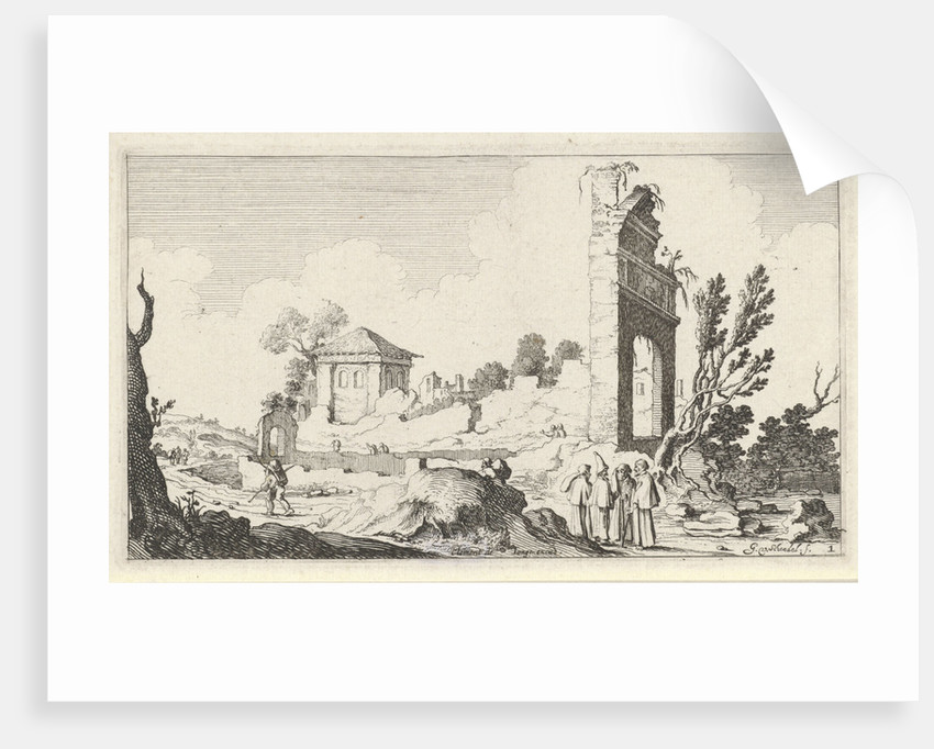 Collines with a crumbling wall and a gate by Clement de Jonghe