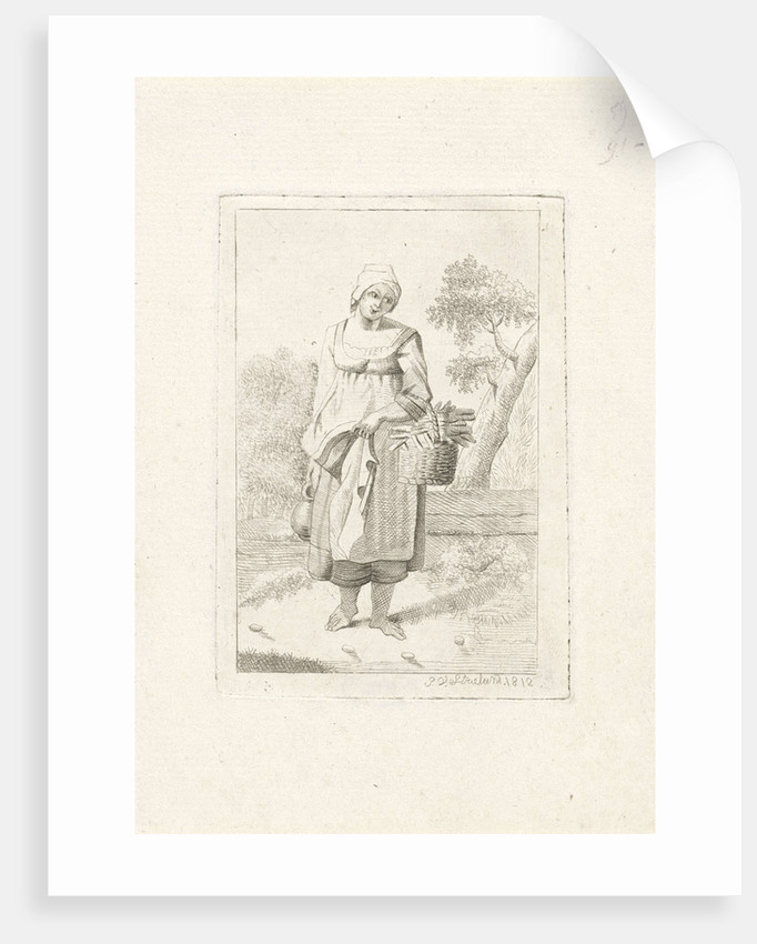 Standing woman with a basket on the arm by J. van Strieland