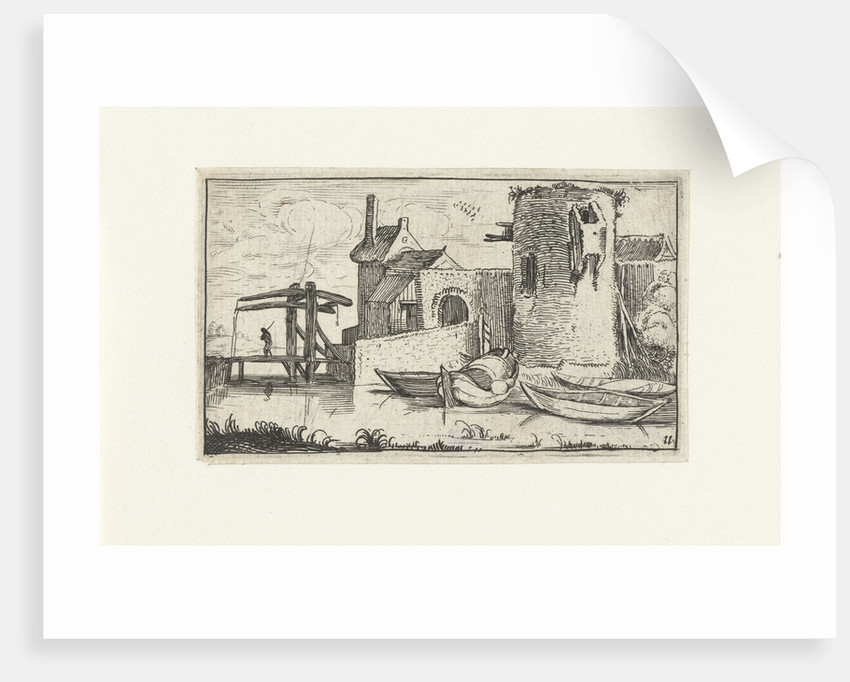 building with dilapidated tower with a drawbridge by Anonymous