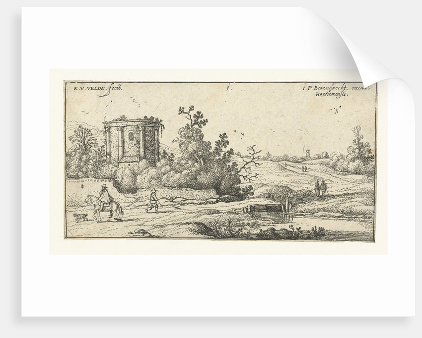 Landscape with ruins of a Roman temple, Italy by Esaias van de Velde