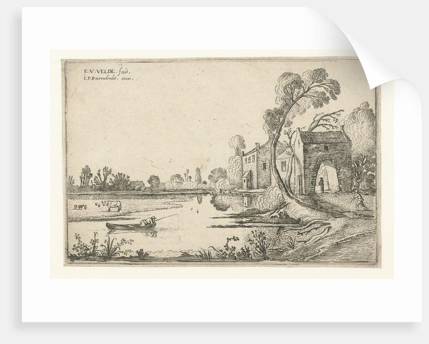 Landscape with river and gatehouse by Esaias van de Velde