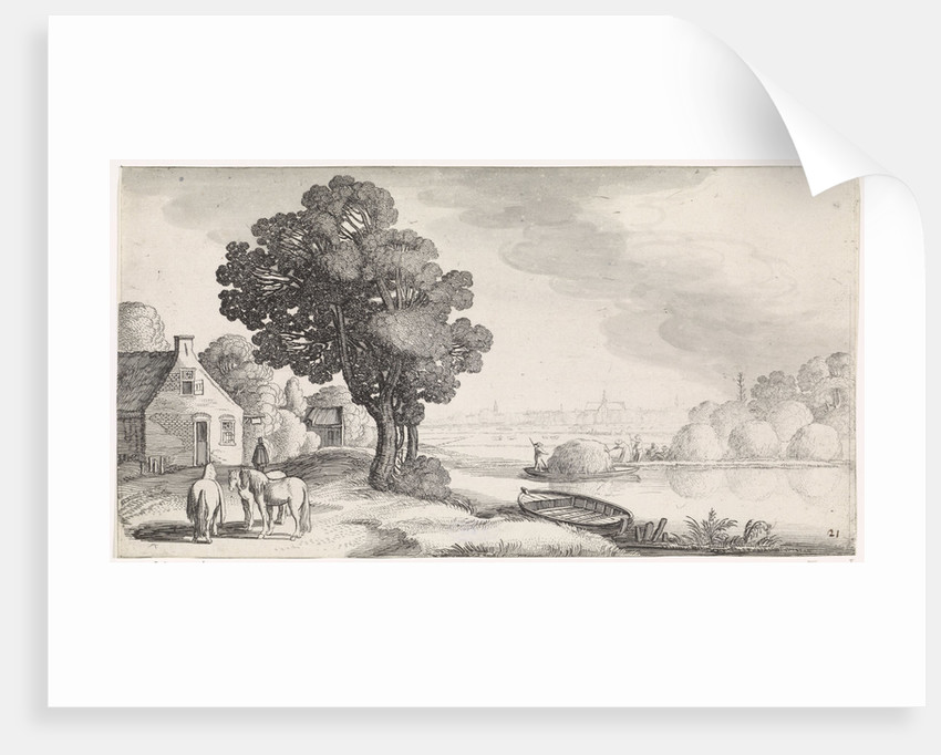 Transport of hay on a river with Haarlem, The Netherlands in the distance by Jan van de Velde II