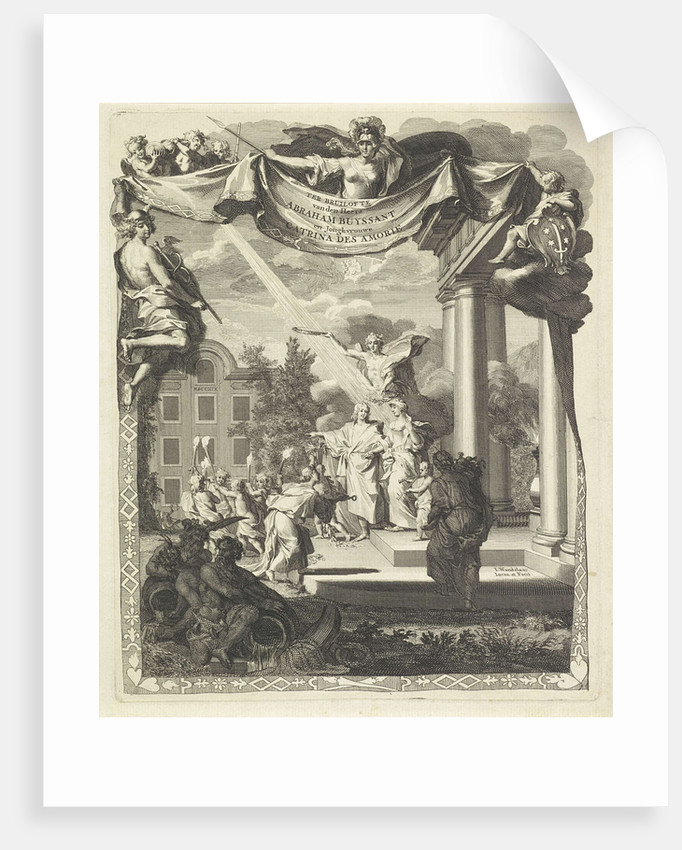 The wedding couple is standing on the steps of a classical buildin by Jan Wandelaar