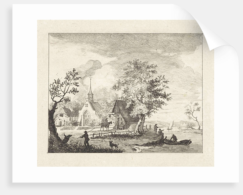 View of a town square by Henricus van der Winden