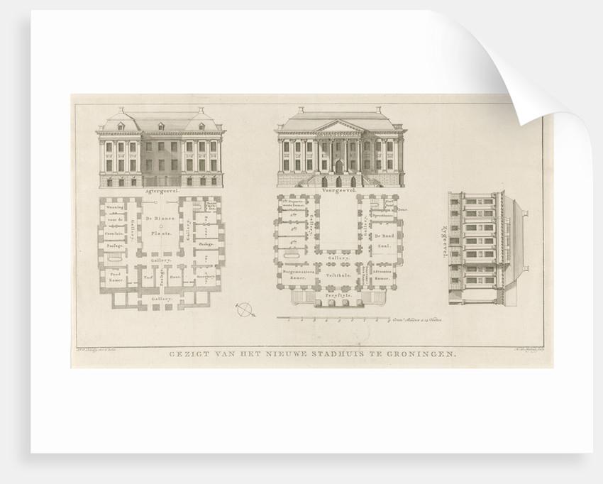 Facades and floor plans of the City Hall of Groningen by Hendrik Leffert Meyling
