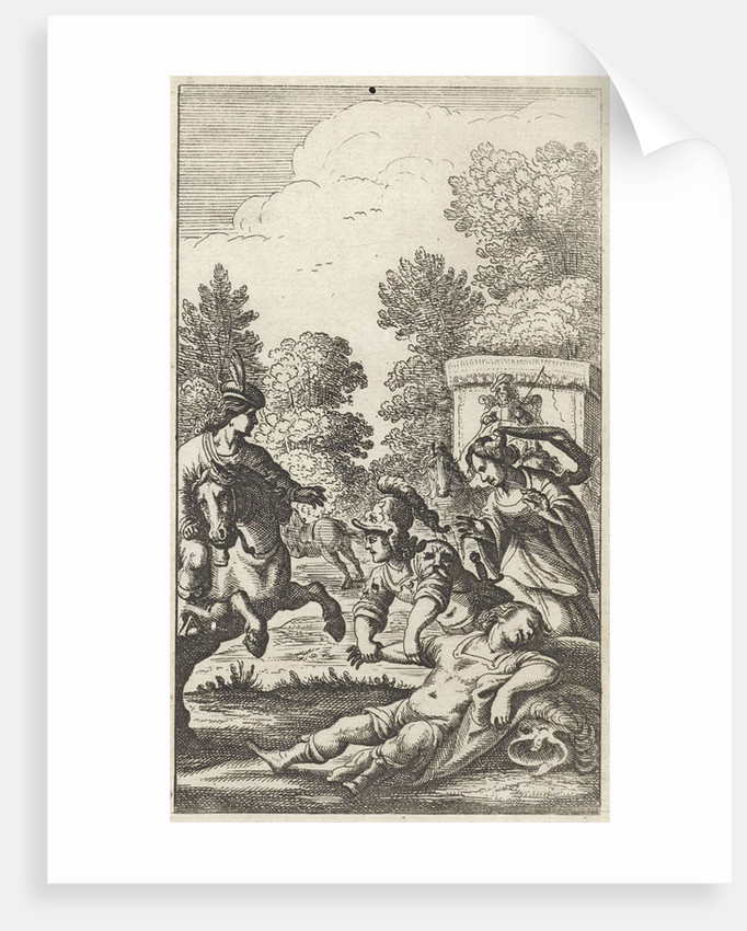 Three persons around the body of a soldier by Gerrit van Goedesberg
