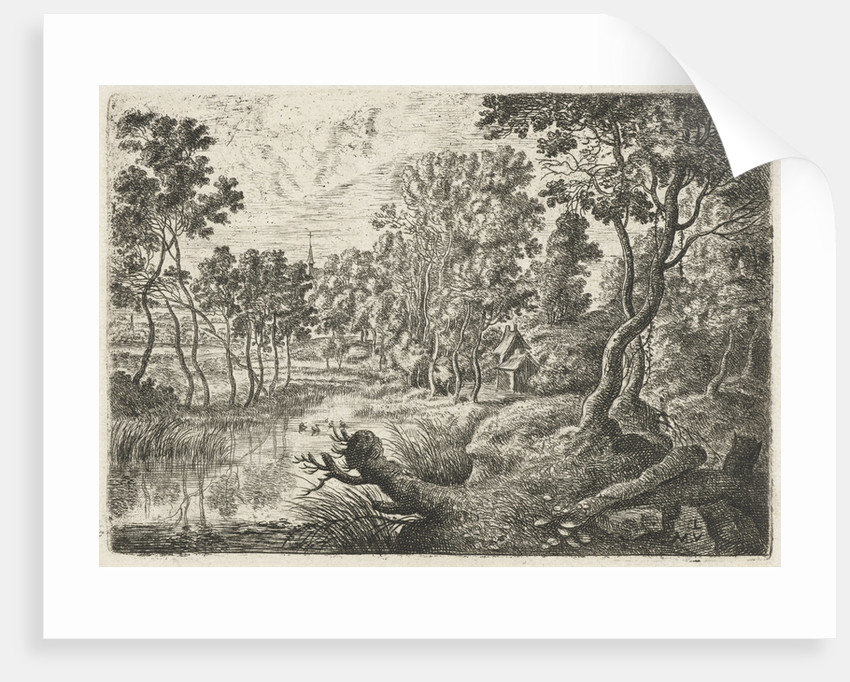 Landscape with a stream by Lucas van Uden