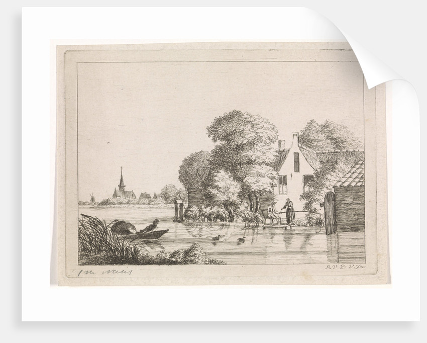 Angler and a woman before a house by A. van de Velde
