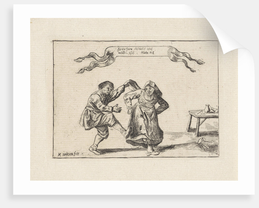 Dancing peasant couple by Pieter Nolpe