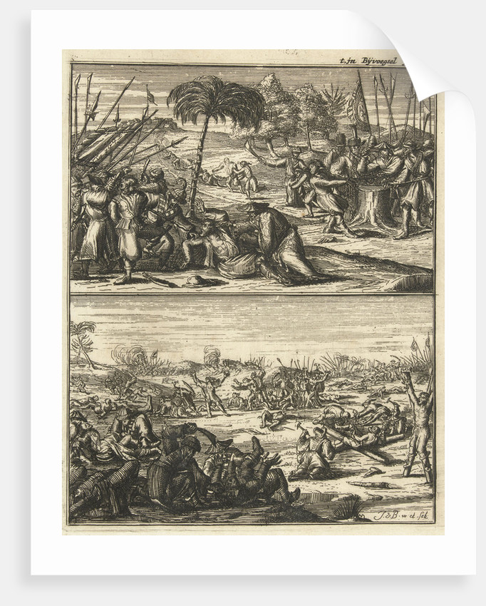 Europeans are tortured and murdered by the Chinese, Under a battlefield with dead, Some whites are crucified by the Chinese by Johannes van Baden