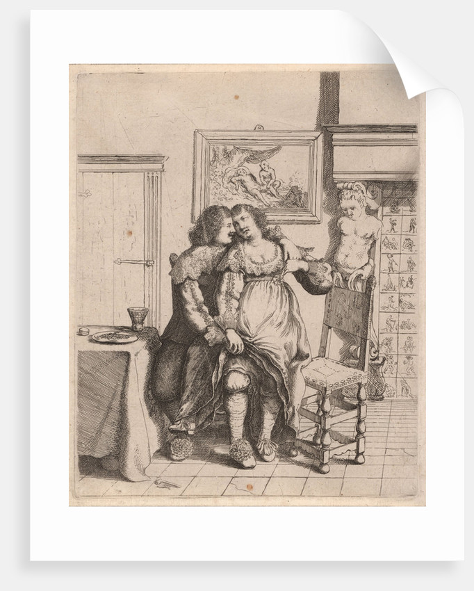 A woman sitting on the lap of a man by William Basse
