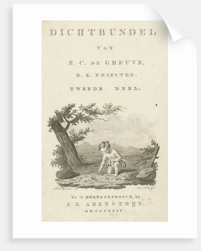 Title page with landscape with child picks flowers and text by J.J. Arkesteijn