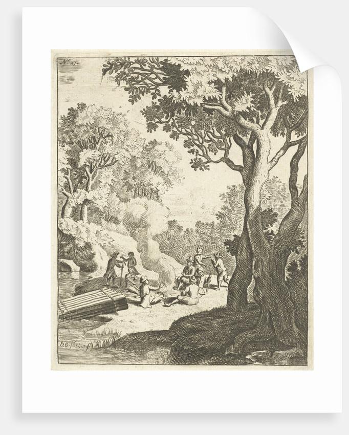 Men at a campfire by Dirck Bosboom