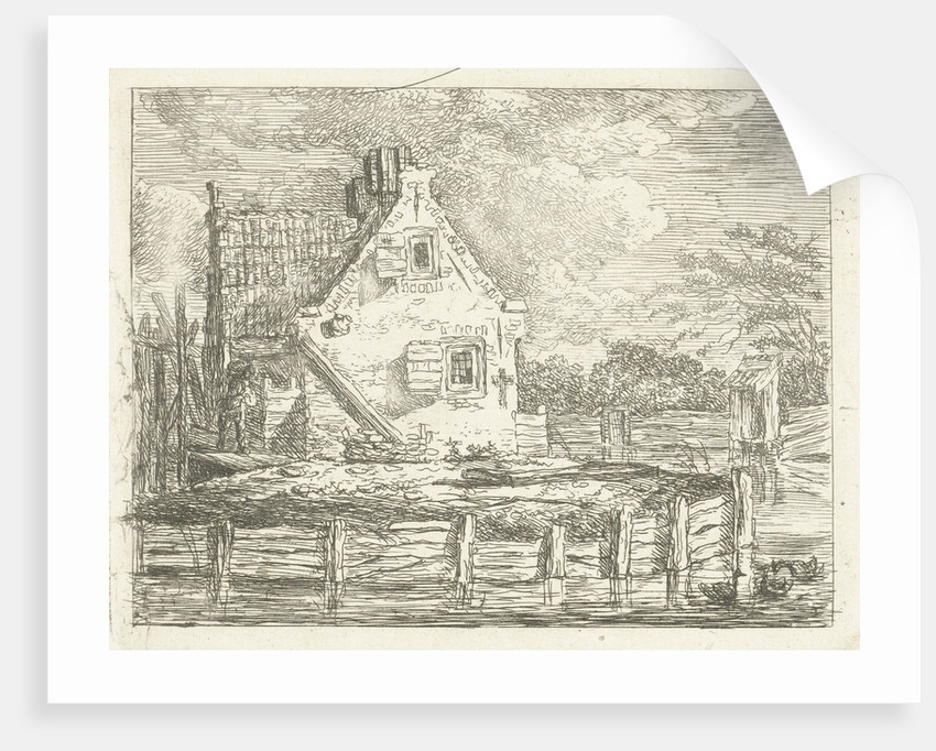 Stone house with yard surrounded by water by Albertus Brondgeest