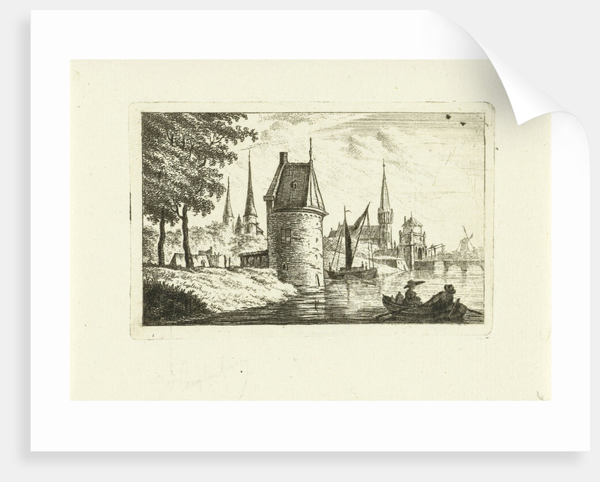 Cityscape with tower on river by Johannes van Cuylenburgh