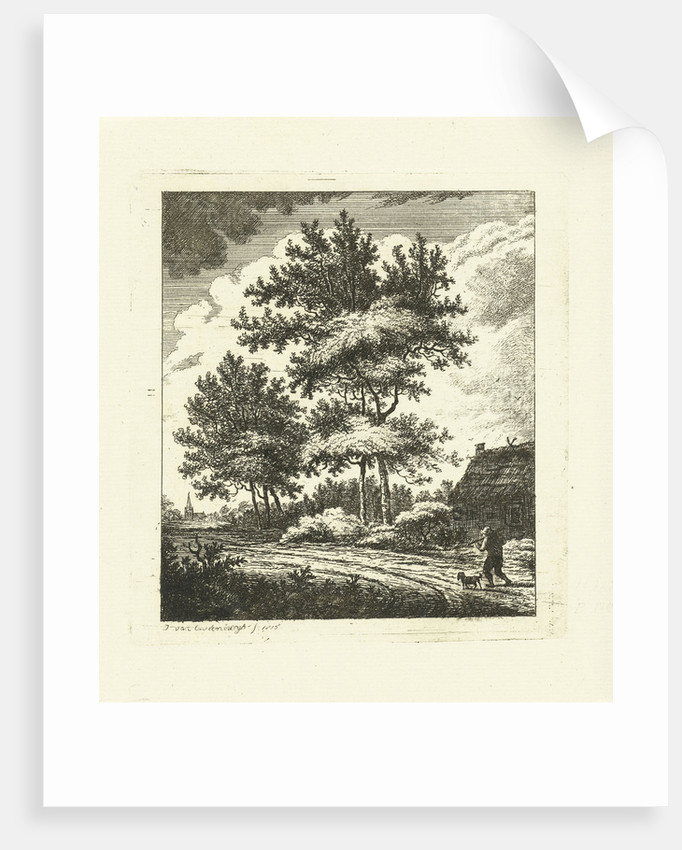 Landscape with country road by Johannes van Cuylenburgh