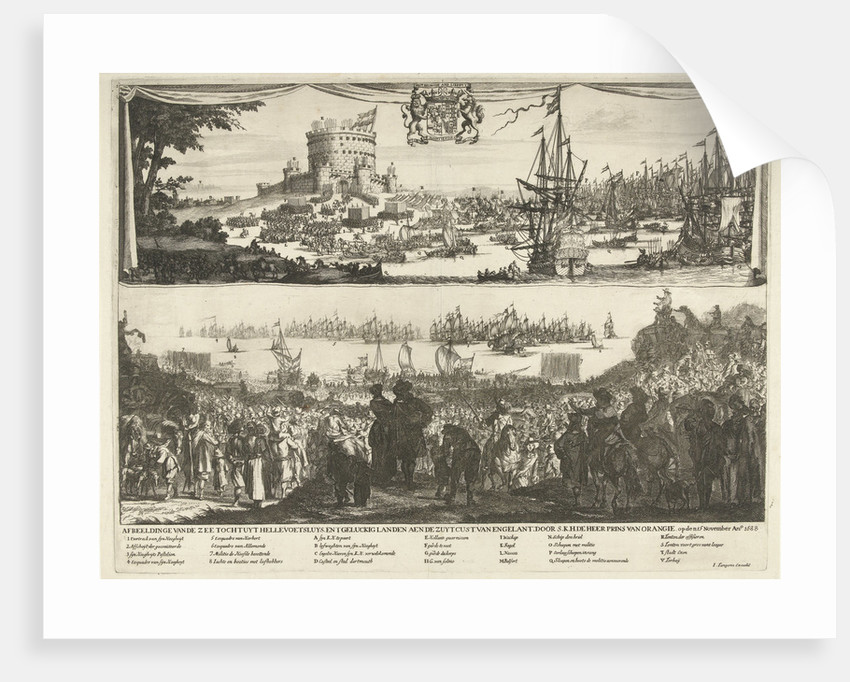 Departure of William III and his fleet from Hellevoetsluis with troops and spectators on the beach and in the dunes by Dancker Danckerts
