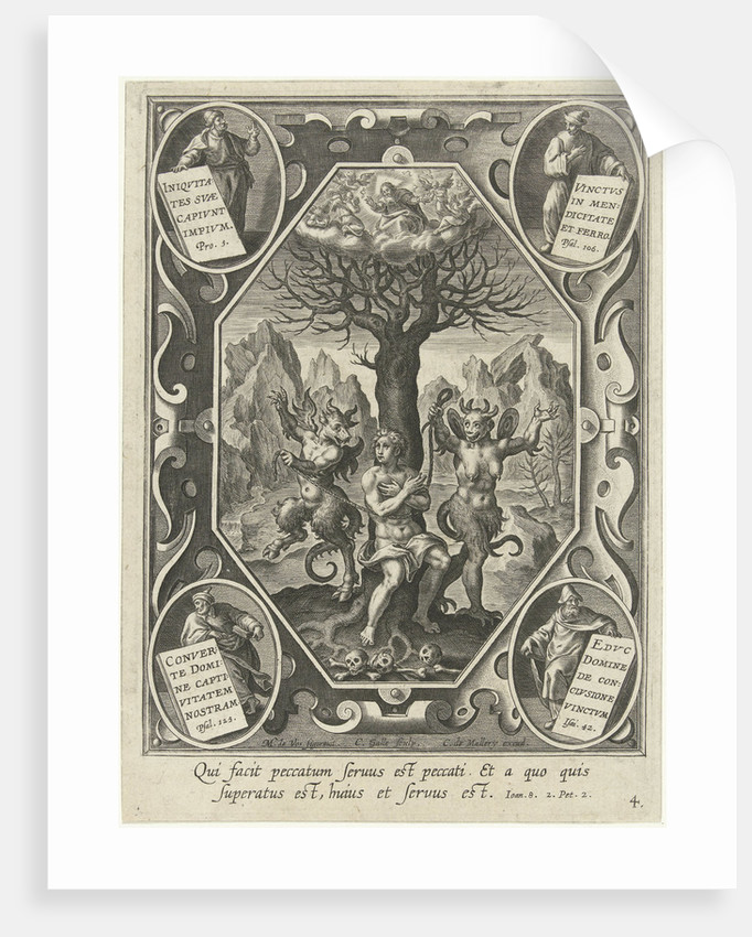 A young man is chained to a tree by two devils by Karel van Mallery