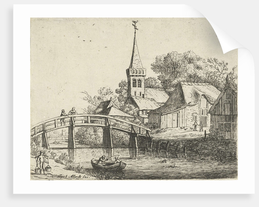 Landscape with wooden bridge by Hugo Allard