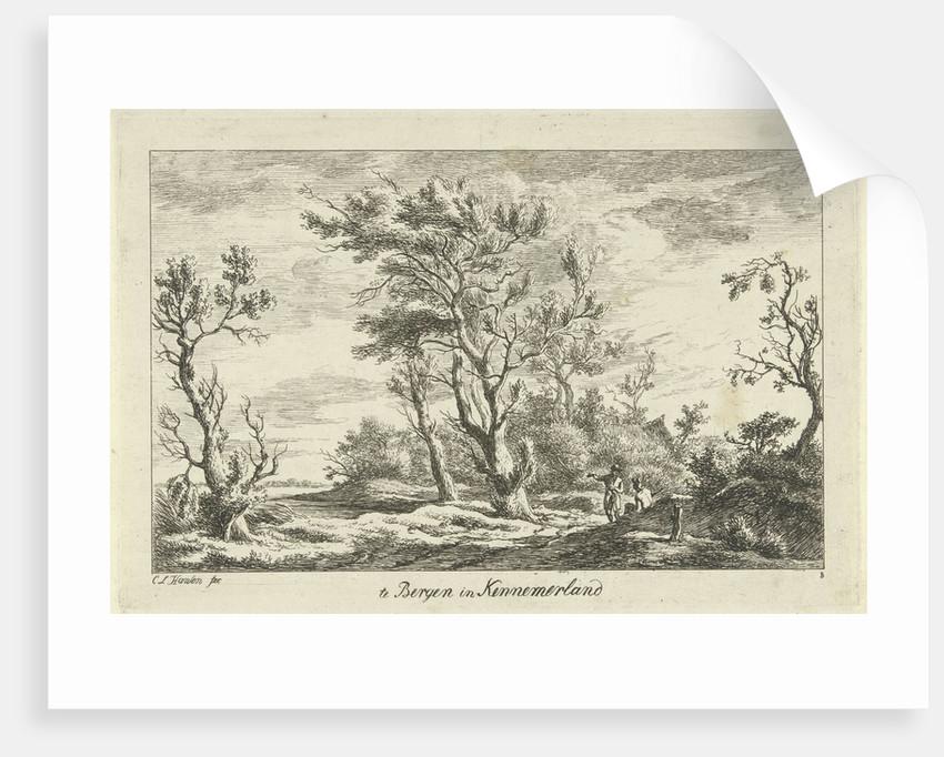 Travelers in a landscape by Carel Lodewijk Hansen