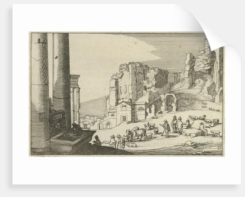 Cattle between Roman ruins by Claes Jansz. Visscher II