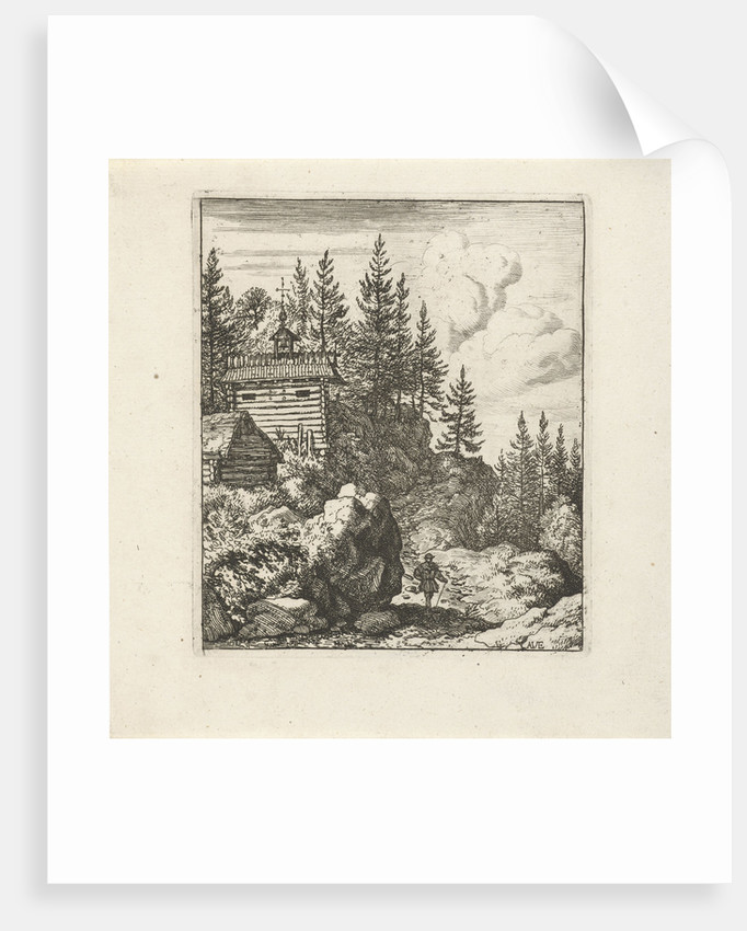 Mountain landscape with wooden chapel, on the path, next to a large rock, stands a walker by Allaert van Everdingen