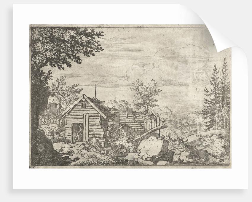 Landscape with two men in the doorway of a wooden hut by Allaert van Everdingen