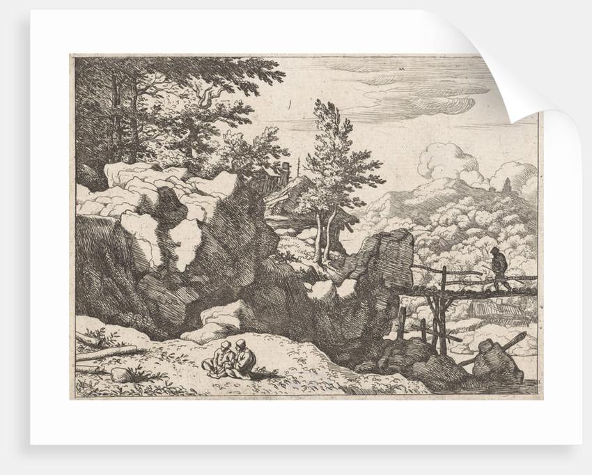 Landscape with man on bridge by Allaert van Everdingen