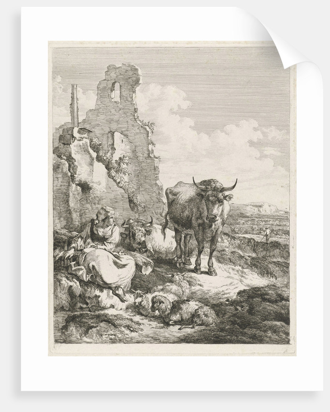 Landscape with portrait and landscape with cow and shepherdess before a ruin by Nicolaes Pietersz. Berchem