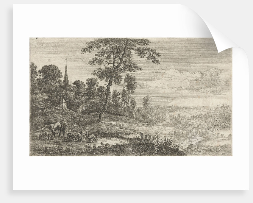 A herdsman with one cow and five goats, in the distance several church towers can be seen in the landscape by Lucas van Uden