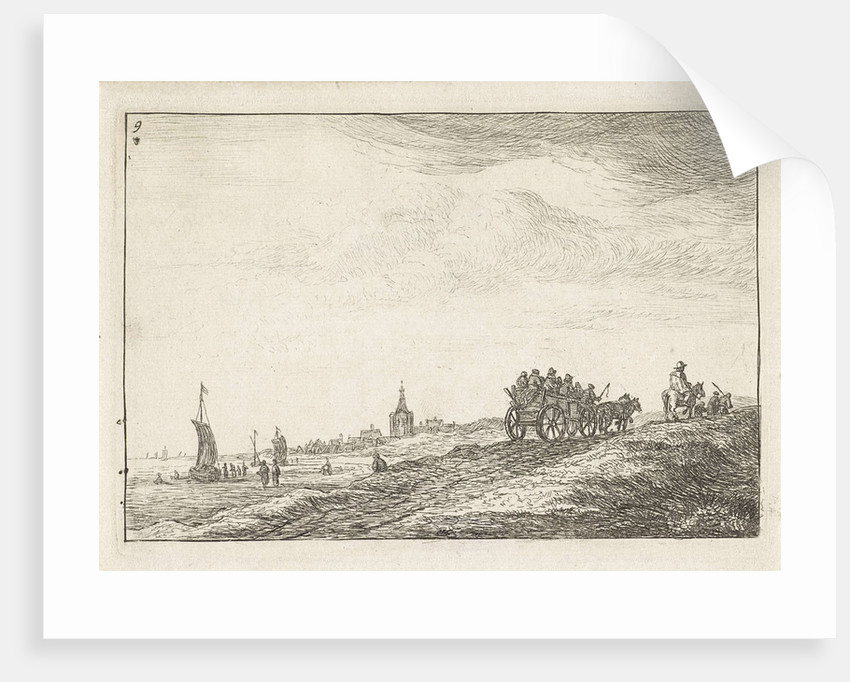 Coastline with horse and carriage by Anthonie Waterloo