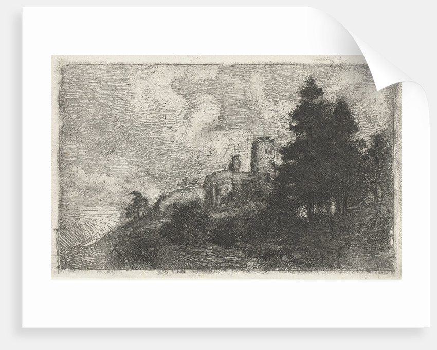 Hill landscape with ruins by Jan Frederik van Deventer