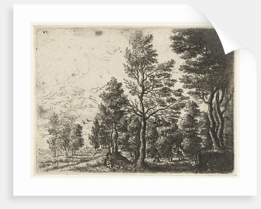 Landscape with a man with a donkey by Frans van den Wijngaerde