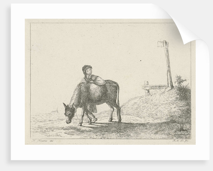 Boy and a donkey by baron Reinierus Albertus Ludovicus van Isendoorn à Blois