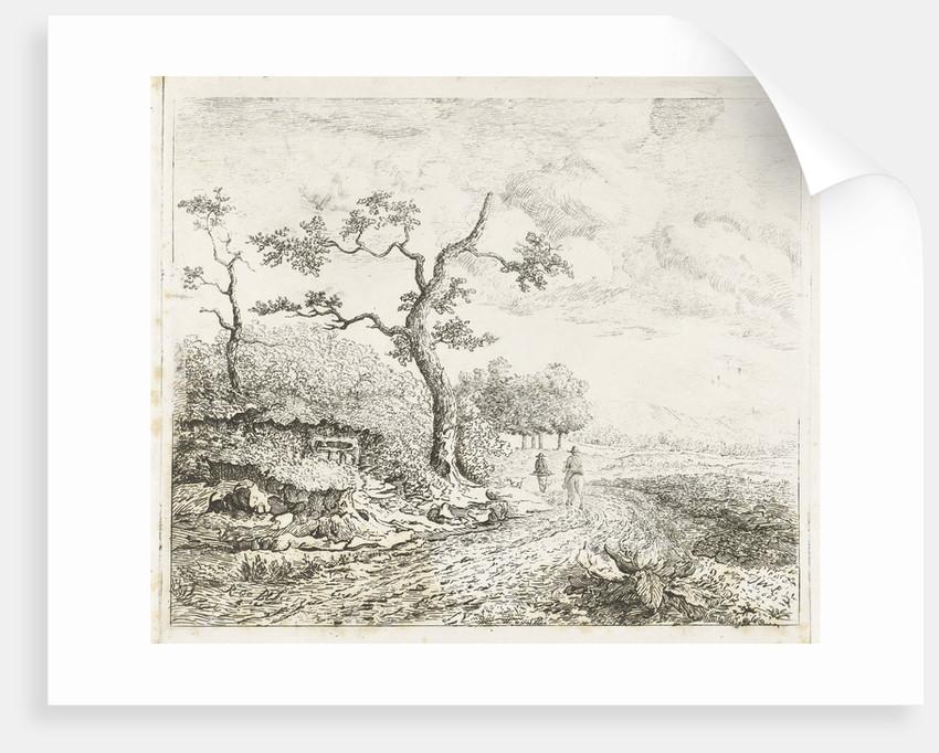 Landscape with falconers by baron Reinierus Albertus Ludovicus van Isendoorn à Blois