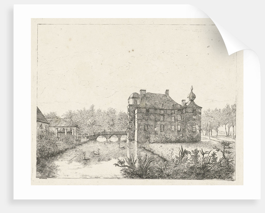 Side view of the castle Cannenburch with houses in the access by baron Reinierus Albertus Ludovicus van Isendoorn à Blois
