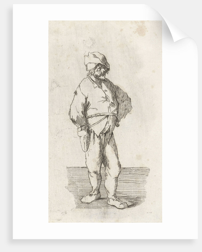 A farmer standing, full length, on a belt he wears a pouch at his side by baron Reinierus Albertus Ludovicus van Isendoorn à Blois