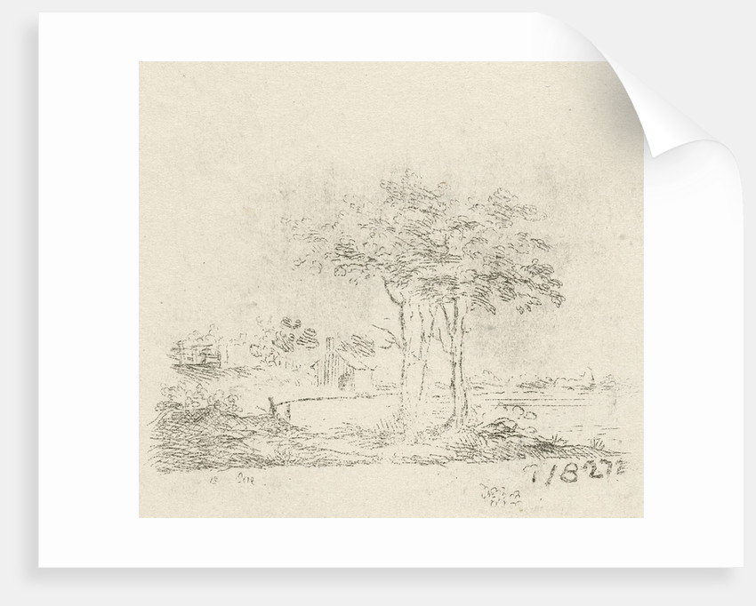 Landscape with two trees by baron Reinierus Albertus Ludovicus van Isendoorn à Blois
