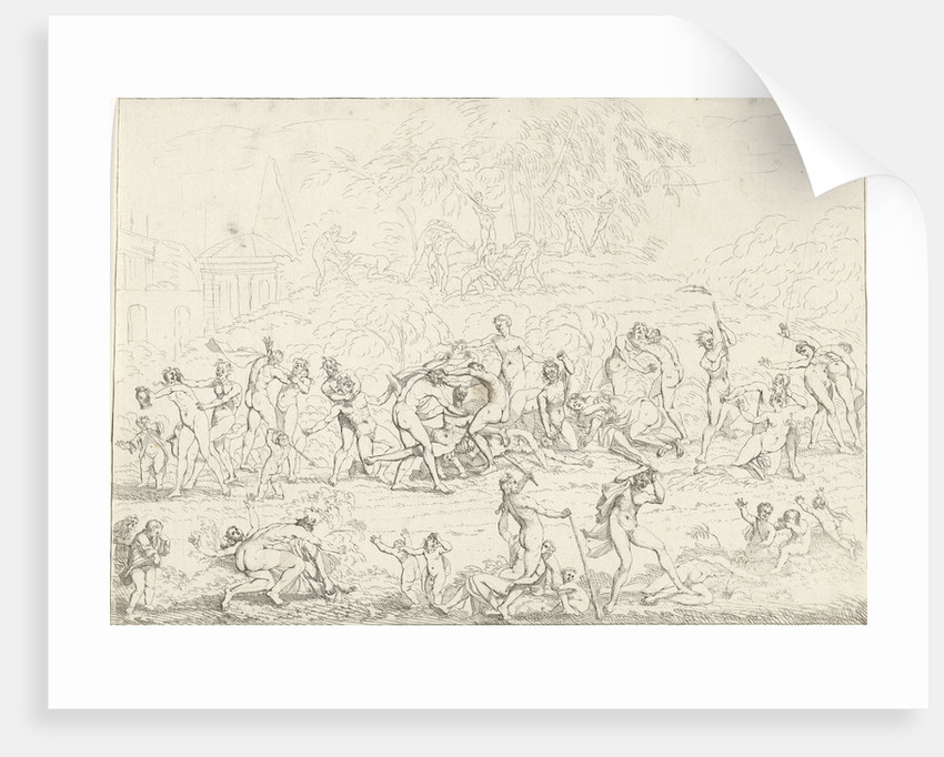 A group Bacchae fighting with each other and with a group of nymphs. Between fighting naked figures walk naked children by Gerard Melder