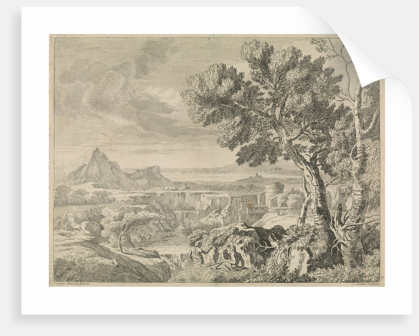 Landscape with canyon and waterfall by Gaspard Dughet