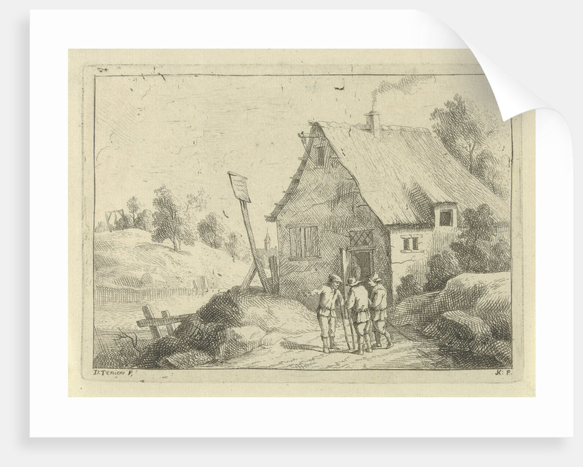 In a hilly landscape are three men talking, from the doorway is a figure, on the hill across the river a figure hanging from a gallows by Jan Lauwryn Krafft I
